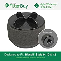 FilterBuy Bissell Style 9/10/12 Compatible Filter, Part #s 32064, 2031183 & 2031464. Designed by FilterBuy to fit All Bissell PowerClean & PowerForce Upright Vacuum Cleaners