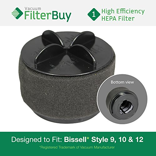 Bissell Powerforce Bagless (FilterBuy Bissell Style 9/10/12 Compatible Filter, Part #'s 32064, 2031183 & 2031464. Designed by FilterBuy to fit All Bissell PowerClean & PowerForce Upright Vacuum Cleaners)