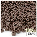 The Crafts Outlet 1000-Piece Plastic Round Opaque Pony Beads, 9 by 6mm, Brown