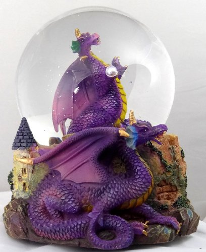 Purple Dragon Clutching Crystal with Castle Snow Globe - Sculptured Resin Water Ball Music Box 5 3/4 High