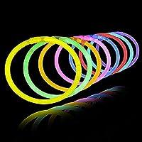 Lumistick 100 AUTÉNTICOS Palos de brillo de 8 pulgadas - Palillos de brillo flexibles con conectores de pulsera - Brazaletes de fiesta de paquete de palillos de brillo (100, surtidos)