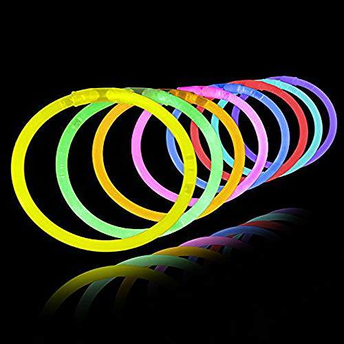 Lumistick 8 Inch 100 Pack Glow Sticks - Bendable Glow Sticks with Necklace and Bracelet Connectors - Glowstick Bundle Party Bracelets (100, -