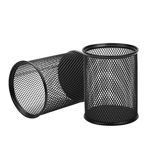 AIMI 2pcs Black Round Steel Mesh Pen Container Pencil Cups Desk Organizers Holders 3.5 inch for Home Office (Black Round Cup)