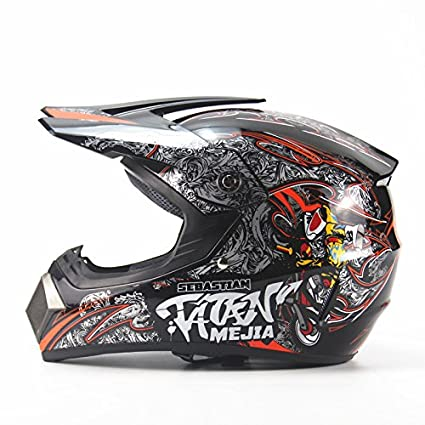 Ocamo Full Protection Off Road Casco Motorcycle Moto Dirt Bike Motocross Racing Helmet Bright black 4
