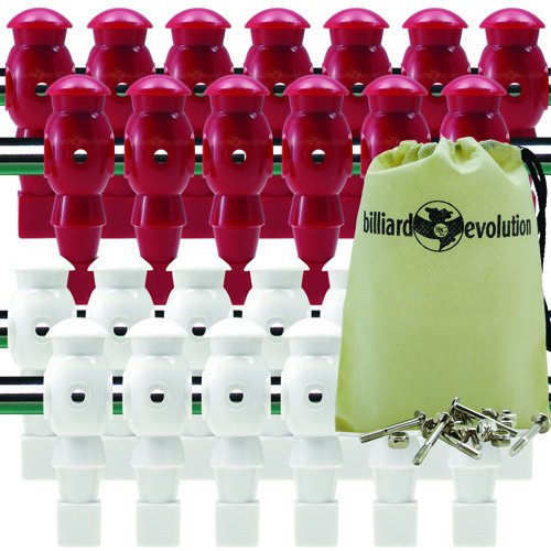 Billiard Evolution 26 Red and White Robotic Foosball Men with Free Screws and Nuts Drawstring Bag by Billiard Evolution