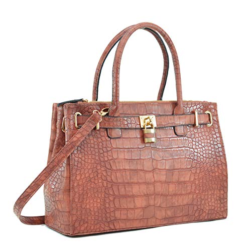 Women Fashion Purses and Handbags Large Tote Bag Shoulder Bag Top Handle Satchel Purse Hobo for Ladies (01 Croco Leather- Cognac) ()
