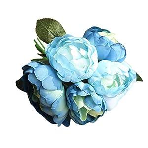 GoodLock 6 Heads Artificial Peony Silk Flower Leaf Home Wedding Decoration Party Home Decor 1 Bouquet 5