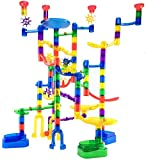 Marble Genius Marble Run Super Set – 85 Translucent Marbulous Pieces + 15 Glass Marbles