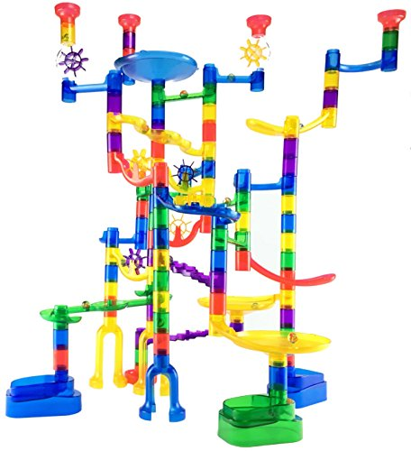 Marble Genius Marble Run Super Set - 85 Translucent Marbulous Pieces + 15 Glass (Marble Run Elevator)