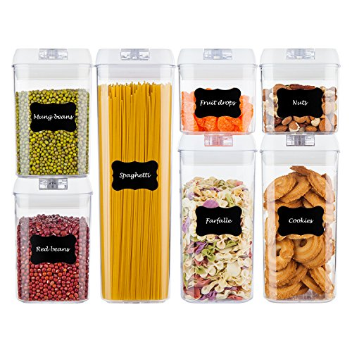 Airtight Food Storage Containers,Vtopmart 7 Pieces BPA Free Plastic Cereal Containers with Easy Lock Lids,for Kitchen Pantry Organization and Storage,Include 24 Free Chalkboard Labels and 1 Marker by Vtopmart