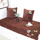CAMAL Windowsill mat, Short Plush Thickened Non-Slip Washable Bay Window Pad Sofa Mat Sofa Cushion with Flowers (70x210cm, Brown)