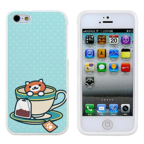 Neko Atsume - Ginger tea Case Cover Your iPhone 5/5S Case and iPhone 5 Case ( White Hard Plastic )