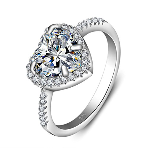 MoAndy Jewelry Silver Heart Shape Cubic Zirconia Inlaid Women Wedding Rings Size 6 14kt Diamond Heart Navel Jewelry