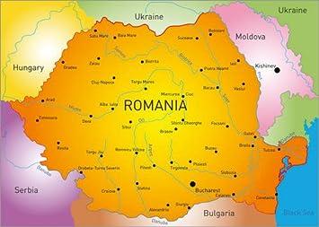 Posterlounge Holzbild 100 X 70 Cm Rumanien Landkarte Englisch