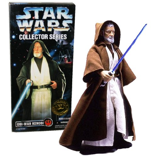 Collector Series Obi Wan (Kenner Year 1996 Star Wars Collector Series 12 Inch Tall Fully Poseable Action Figure - Authentically Styled OBI-WAN KENOBI with with Jedi Hooded Robe and Blue Lightsaber by Star Wars)