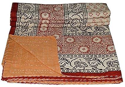 Amazon Com Ramdev Handicrafts Indian Handmade Cotton Kantha Quilt