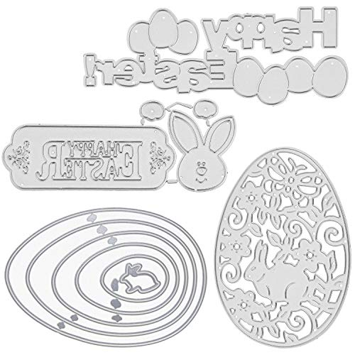 Cutting Dies for Easter Sunday Card Making Metal Cut Dies 3D Stencil Mould Nesting Template for DIY Decorative Embossing Photo Scrapbook Album Paper Letter Craft Compatible Die Cutting Machine (4Pcs)