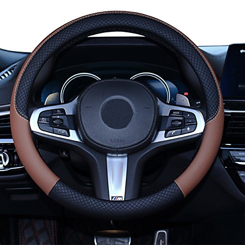 SHIAWASENA Car Steering Wheel Cover, Leather, Universal 15 Inch Fit, Anti-Slip & Odor-Free (Black&Brown) Bmw Steering Wheel Cover
