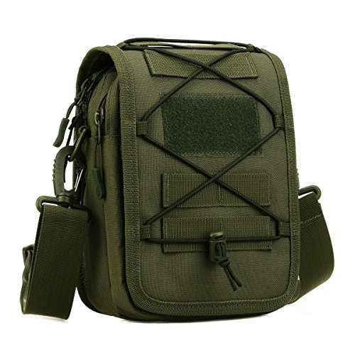 - UNISTRENGH Multi-Purpose Tactical Molle Utility Pouches Compact Waist Pack Military Water-Resistance Casual Satchel Bag Fanny Pack Hunting Accessory (Army Green)