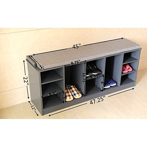 Basicwise Wooden Soft-cushioned Entryway Bench Shoe Storage Cubicle by Basicwise