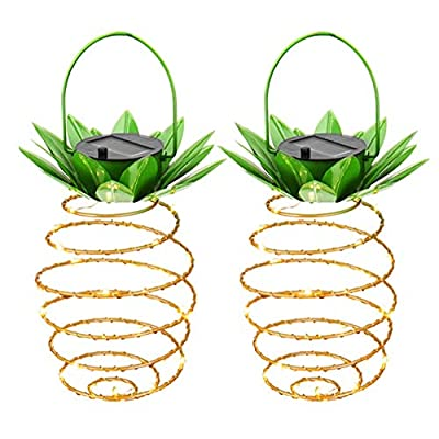 Adecorty Solar Lights Pineapple, Hanging Solar Lanterns 2 Pack 30 LED Solar Garden Lights Outdoor Decor Pineapple Fairy Lights Solar Patio Lights, Waterproof Solar String Lights for Patio Yard Decor -  - patio, outdoor-lights, outdoor-decor - 51fR4sXxijL. SS400  -