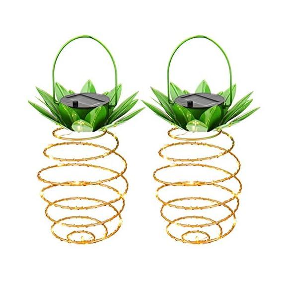 Adecorty Solar Lights Pineapple, Hanging Solar Lanterns 2 Pack 30 LED Solar Garden Lights Outdoor Decor Pineapple Fairy Lights Solar Patio Lights, Waterproof Solar String Lights for Patio Yard Decor -  - patio, outdoor-lights, outdoor-decor - 51fR4sXxijL. SS570  -