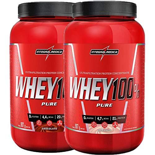 kit 2x Whey 100% Pure 907g Chocolate E Morango Integralmedica