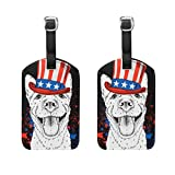 Vantaso Luggage Tags Set PU Leather Dog in Old American Hat With Flag for Travel Suitcase