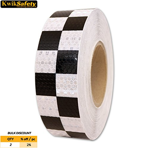 KwikSafety CONTRAST | Grid Honeycomb Tape | High Visibility Industrial Marking Tape | Heavy Duty Hazard Caution Warning Safety Adhesive | Automobile Bike Warehouse Garage Floor | Black White (Outdoor Obstacle Markers)