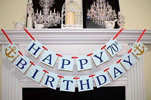 Amazon Happy 70th Birthday Banner Light Blue Navy Red Decor Anchor Nautical 50th 60th 80th Handmade