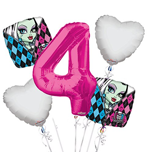 Monster High Balloon Bouquet 4th Birthday 5 pcs - Party Supplies