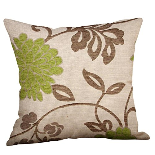 (Throw Pillow,Lowprofile Green Lime Print Cotton Linen Pillow Case Sofa Car Office Home Cushion Cover Decorative (D))