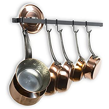 castro 30 inches long wall mounted hanging kitchen organizer strong iron gourmet kitchen bar wall pot rack rail and 15 s hooks set utensil pot pan or lid