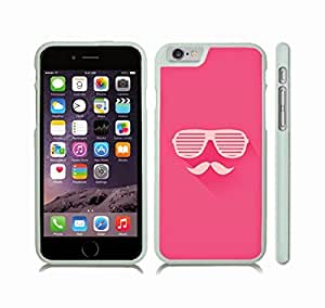iStar Cases? iPhone 6 Case with Mustache and Shutters Design on Hot Pink Background , Snap-on Cover, Hard Carrying Case (White)