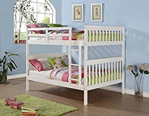 DONCO Kids 123-3W Mission Bunk Bed, Full/Full, White