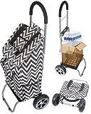 Trolley Dolly, Black Chevron Shopping Grocery Foldable Cart
