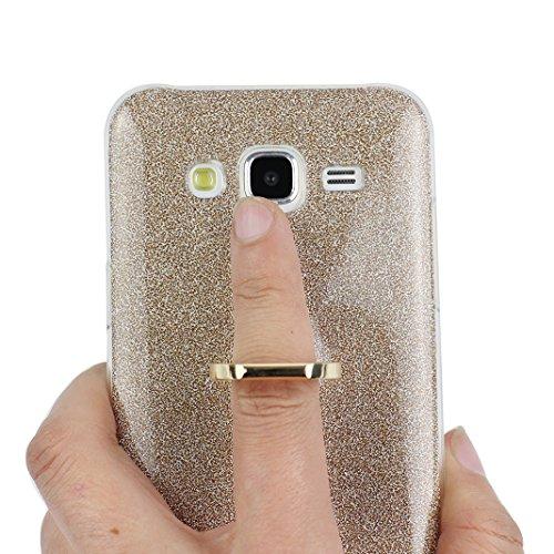 Funda Samsung Galaxy J5 2015, Samsung J5 Caso, Rosa Schleife Liquid Crystal Cubierta suave de TPU + Papel brillo Hybrid 2 in 1 Bling Funda Ultra Slim Premium Silicona Carcasa Funda para Samsung Galaxy A - Oro