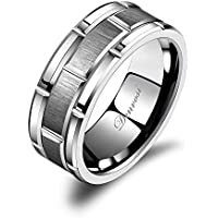 Denvosi Men Wedding Band Tungsten Ring 8MM Brick Pattern Matte Brushed Silver Surface Engagement Anniversary Ring Comfort Fit Size 6-14.5