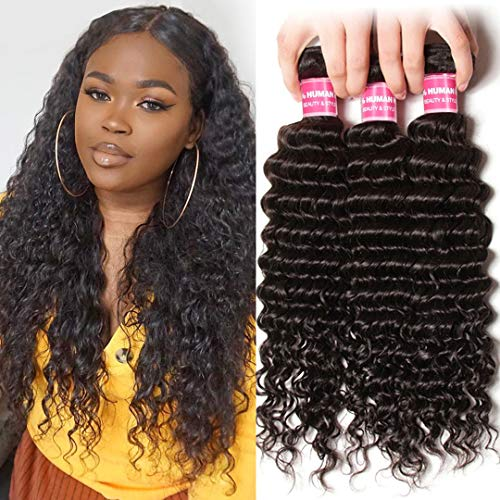 Jolia Hair 10A Brazilian Deep Wave Bundles 14 16 18 inch Loose Curl Human Hair Weave 100% Unprocessed Virgin Deep Curly Hair Weft Natural Color