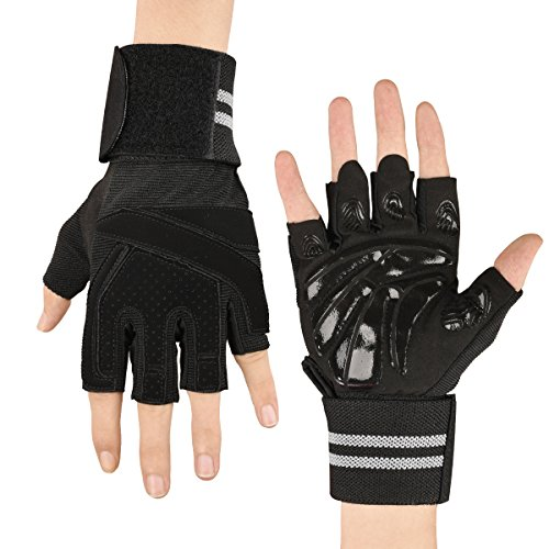 Workout Gloves, Ultralight Microfiber & Anti-Slip Silica Gel Grip, Gym Gloves with 18 Wrist Wrap Support for Weight Lifting, Training, Fitness, Exercise (Men & Women)