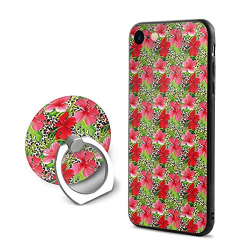 iPhone 8 Case,Shock-Absorption IPhone7/8 Phone Case Red Tropical Flower Shockproof Series Protective Case for iPhone 7/8 with Rotating Stand