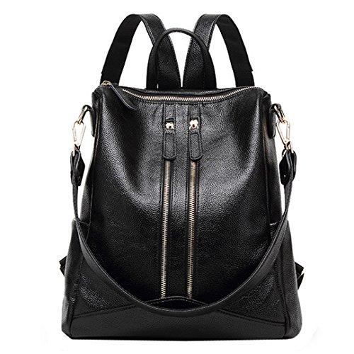 Shoulder Girls Black Leather School Multifunctional Bag Casual Student Women Ladies Soft Campus Teens Bag Rucksack for Backpack Millya q7gRAg