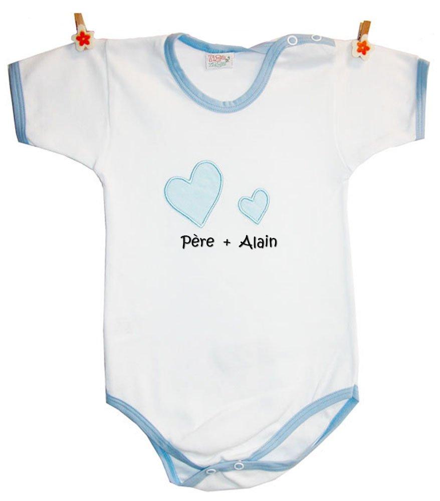 Zigozago - Body Bébé avec la broderie 'Père+ nom de bébé personnalisé' 100% coton