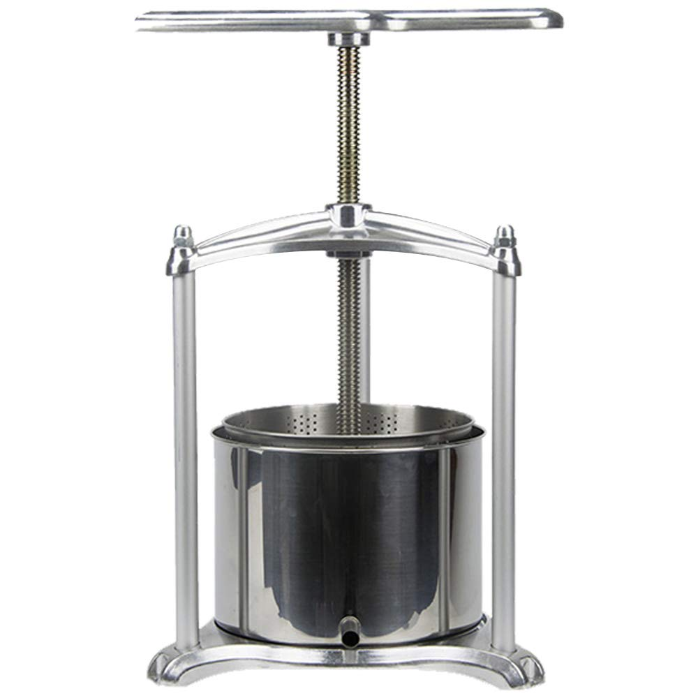 Fruit Wine Press - 100% Nature Juice Making for Apple/Carrot/Orange/Berry/Vegetables,Food-Grade Polished Aluminum Cheese&Tincture&Herbal Press(1.6 Gallon,Sliver)