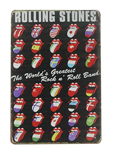 (Rolling Stones Rock n roll Band tin Metal Sign Wall Decor Garage bar Outdoor Wall Art)
