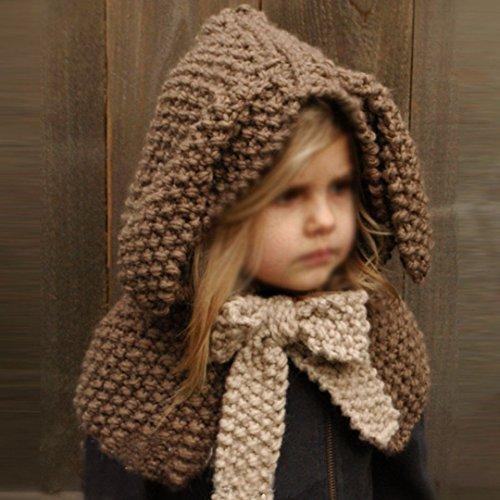 69eb3f92f78 Aisa Warm Baby Girls Boys Hat Scarf Cute Cartoon Rabbit Hats Handmade Wool  Knitted Coif Hood