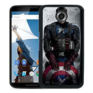 Popular Nexus 6 Case,Captain America 5 Black Google Nexus 6 Screen Phone Case Unique and Custom Design