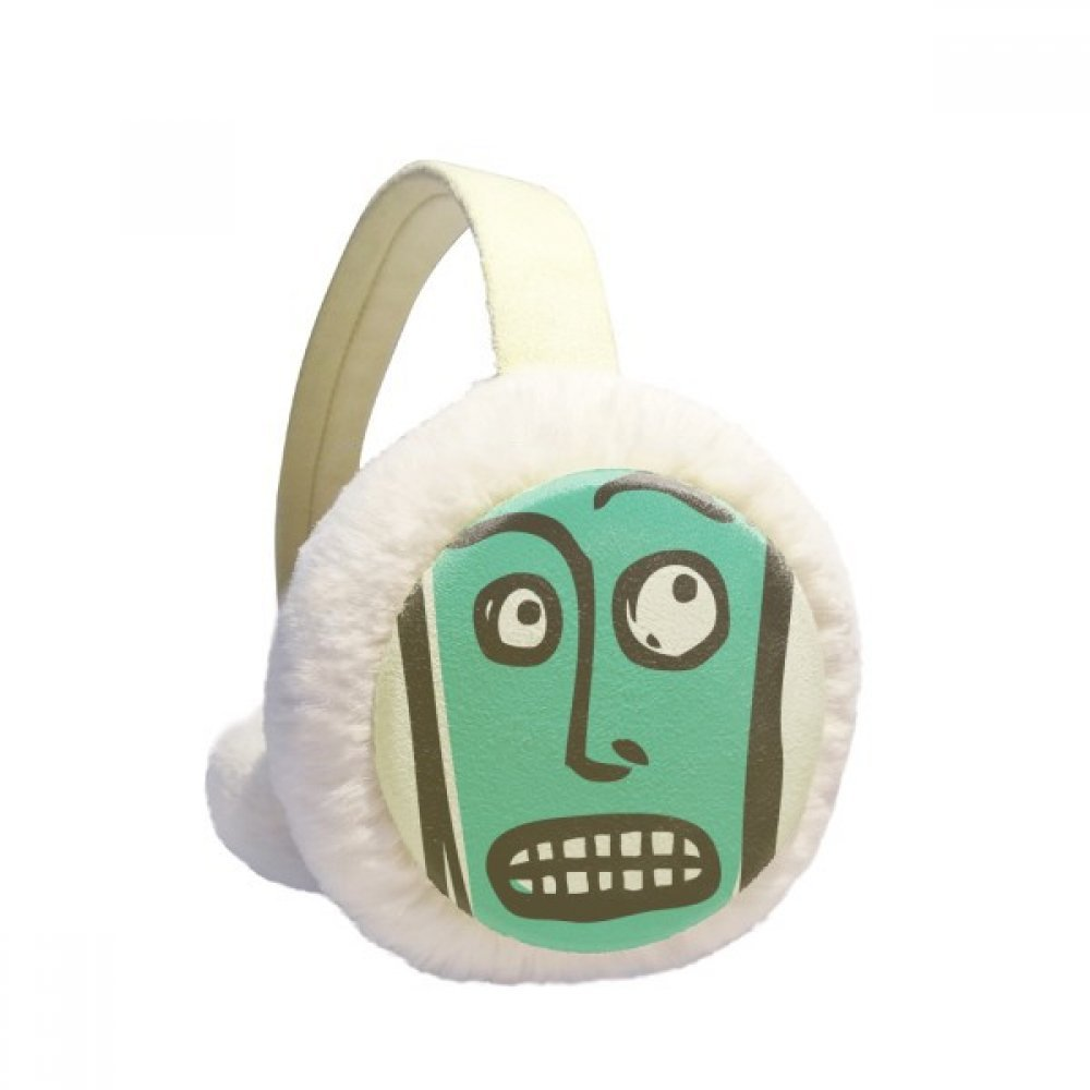 Suprised Abstract Face Sketch Emoji Winter Earmuffs Ear Warmers Faux Fur Foldable Plush Outdoor Gift