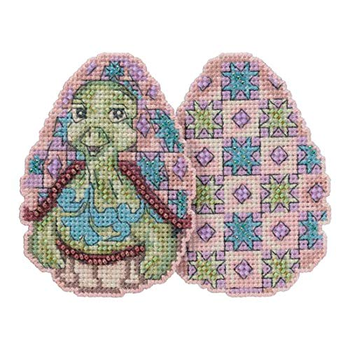 Turtle Egg Beaded Counted Cross Stitch Easter Ornament Kit Mill Hill 2018 Jim Shore Character Eggs JS181813 -
