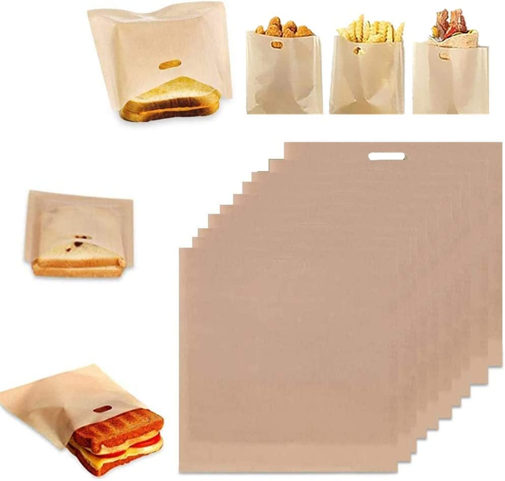 Toaster Bags Reusable for Grilled Cheese Sandwiches, Create Grilled Cheese Sandwiches in Toaster, Microwave Oven or Grill, Pizza Panini & Garlic Bread (10pc)